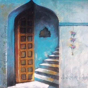 The Door by Anuradha Date, Impressionism Painting, Acrylic & Ink on Canvas, Gray color