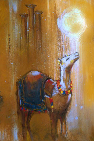 The Camel by Anuradha Date, Expressionism Painting, Acrylic on Canvas, Brown color
