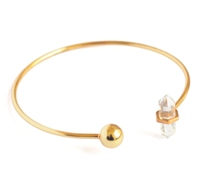 CRYSTAL QUARTZ STONE STACKABLE CUFF by Ikka Dukka Studio Pvt Ltd, Art Jewellery, Contemporary Bracelet