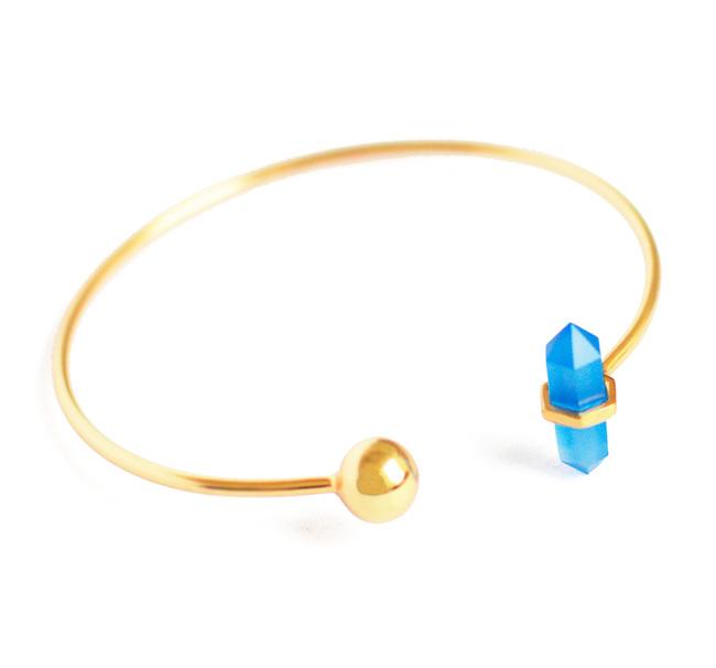 BLUE CHALCEDONY STONE STACKABLE CUFF by Ikka Dukka Studio Pvt Ltd, Art Jewellery, Contemporary Bracelet