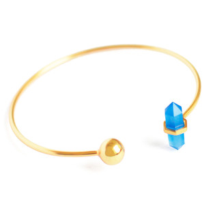BLUE CHALCEDONY STONE STACKABLE CUFF by Ikka Dukka Studio Pvt Ltd, Art Jewellery, Contemporary Bracelet