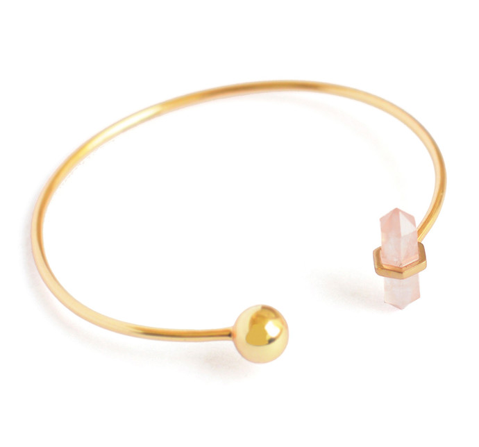 ROSE QUARTZ STONE STACKABLE CUFF by Ikka Dukka Studio Pvt Ltd, Art Jewellery, Contemporary Bracelet