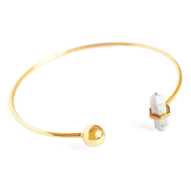 HOWLITE STACKABLE CUFF by Ikka Dukka Studio Pvt Ltd, Art Jewellery, Contemporary Bracelet