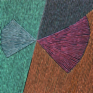 Geometrical View-82 by Sandesh Khule, Geometrical Painting, Oil on Canvas, Green color