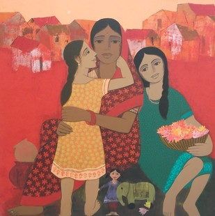Mother and Daughter IV by Nagesh Ghodke, Expressionism Painting, Acrylic on Canvas, Brown color