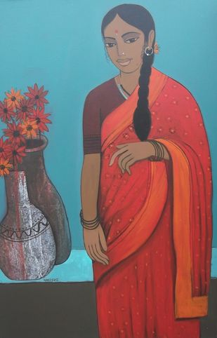 Lady with Flower Pot by Nagesh Ghodke, Decorative Painting, Acrylic on Canvas, Brown color