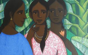sakhi (friends) II by Nagesh Ghodke, Expressionism Painting, Acrylic on Canvas, Green color