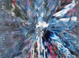 The Rabbit Hole by Bharat Thakur, Abstract Painting, Acrylic on Canvas, Blue color