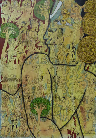Lord Krishna by Ramesh Gorjala, Traditional Painting, Acrylic on Paper, Beige color