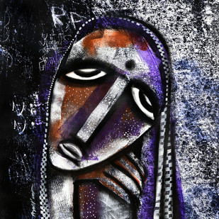 face of love by Arun K Mishra, Expressionism Painting, Acrylic & Ink on Canvas, Gray color