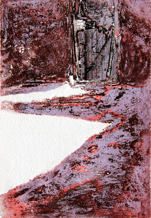 SHADOWS - 2 by Tapan Madkikar, Impressionism Printmaking, Etching on Paper, Brown color