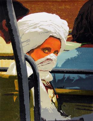 DURING JUNGLE SAFARI by Tapan Madkikar, Expressionism Printmaking, Sunboard cut print on Paper, Brown color