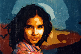 MONALISA SMILE by Tapan Madkikar, Expressionism Printmaking, Sunboard cut print on Paper, Brown color