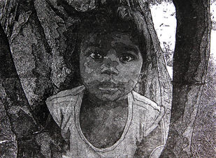 INTRODUCING SHAMBHU by Tapan Madkikar, Expressionism Printmaking, Etching on Paper, Gray color