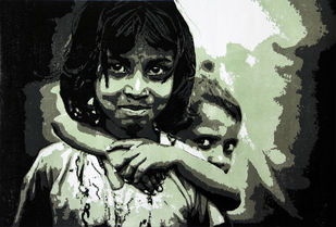 BALI AND SHAMBHU by Tapan Madkikar, Expressionism Printmaking, Sunboard cut print on Paper, Gray color
