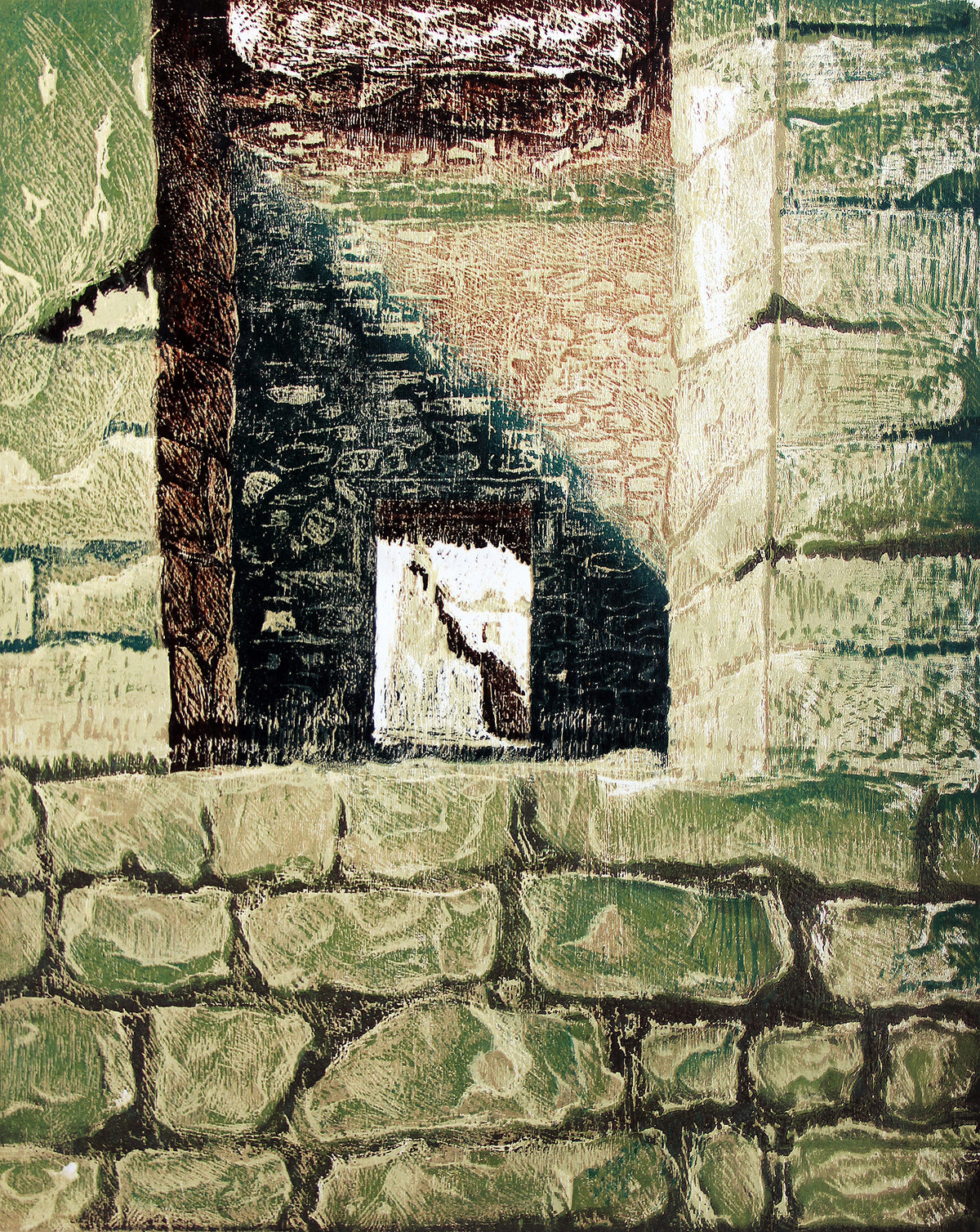 GREEN WINDOW by Tapan Madkikar, Impressionism Printmaking, Wood Cut on Paper, Beige color