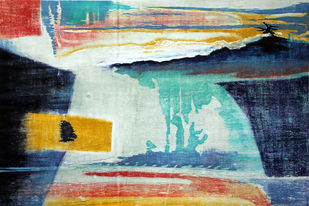 LANDSCAPE by Tapan Madkikar, Abstract Printmaking, Wood Cut on Paper, Cyan color