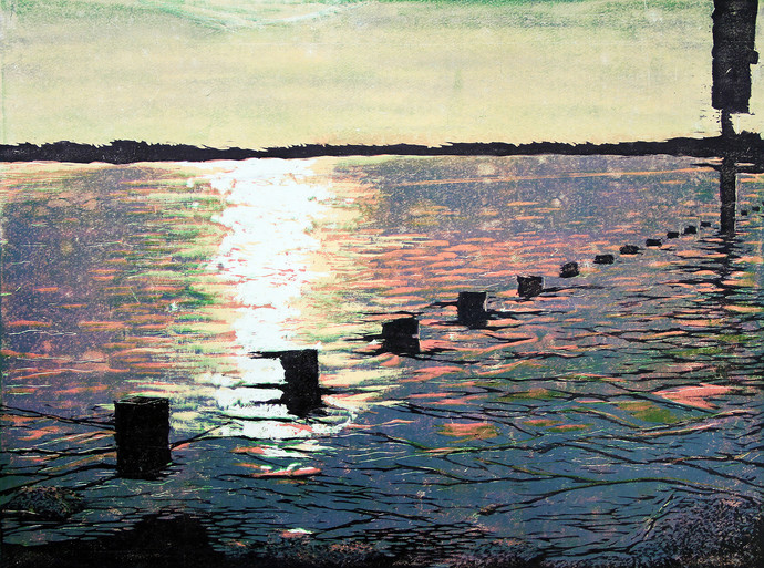 SUNSET by Tapan Madkikar, Impressionism Printmaking, Sunboard cut print on Paper, Beige color