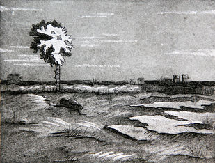 JUST BEFORE THE SUNRISE by Tapan Madkikar, Impressionism Printmaking, Etching and Aquatint, Gray color