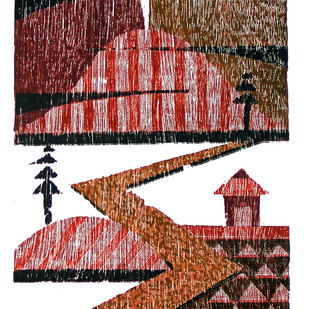 NIGHT by Tapan Madkikar, Geometrical Printmaking, Wood Cut on Paper, Brown color