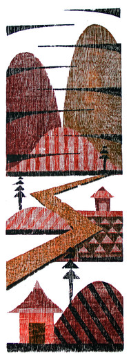 NIGHT by Tapan Madkikar, Geometrical Printmaking, Wood Cut on Paper, Brown color