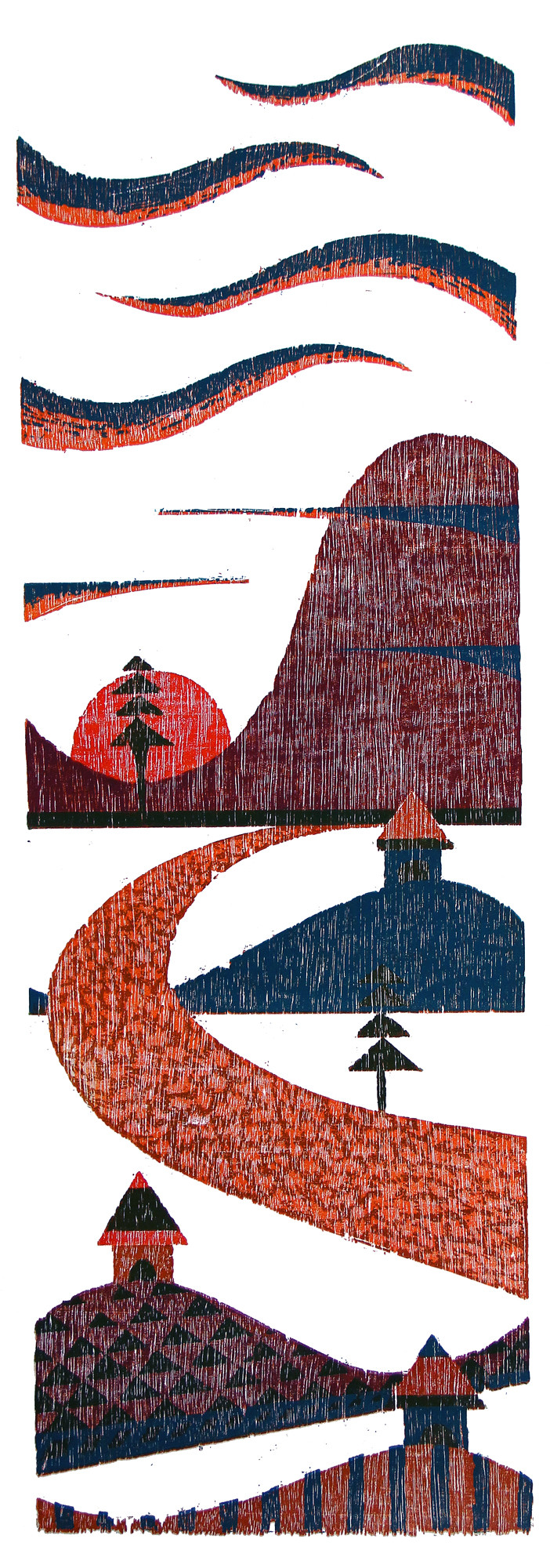 EVENING by Tapan Madkikar, Geometrical Printmaking, Wood Cut on Paper, Gray color