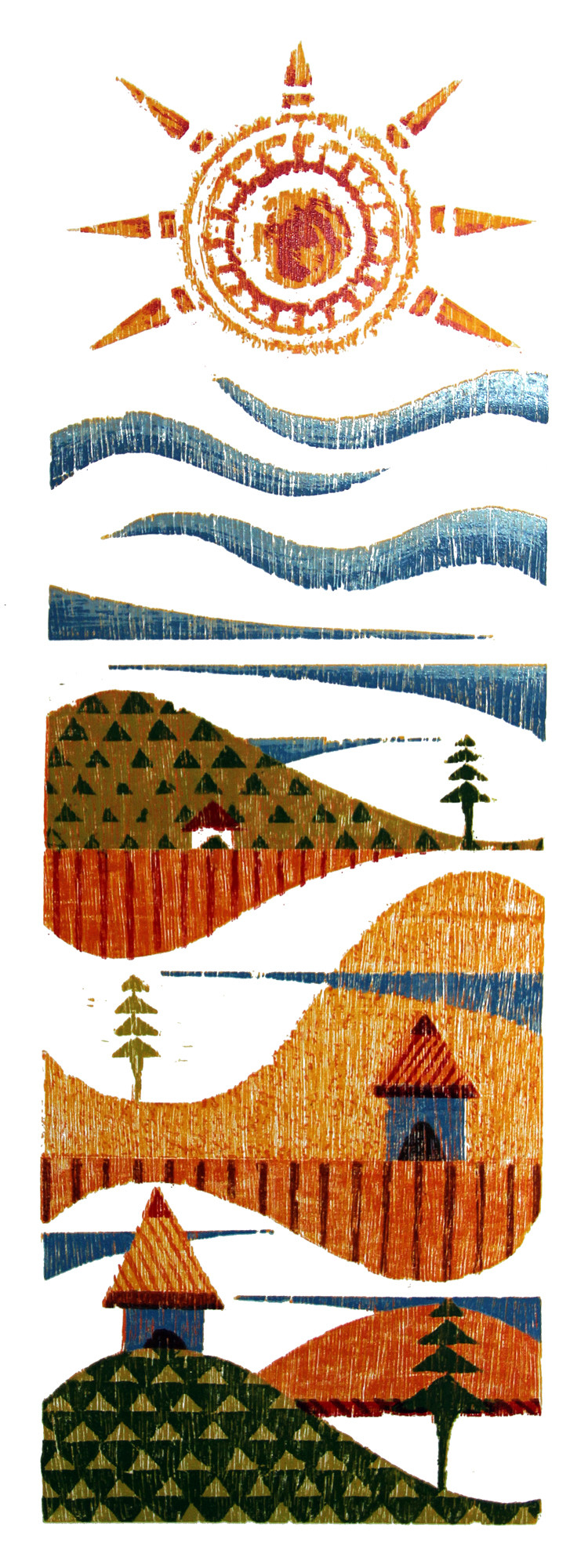 AFTERNOON by Tapan Madkikar, Geometrical Printmaking, Wood Cut on Paper, Beige color