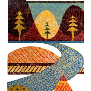MORNING by Tapan Madkikar, Geometrical Printmaking, Wood Cut on Paper, Beige color