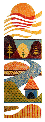 MORNING by Tapan Madkikar, Geometrical Printmaking, Wood Cut on Paper, Beige color