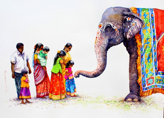 Blessing By Artist Siva Balan Photorealism Painting