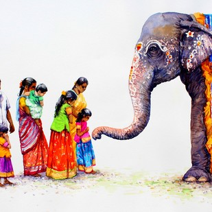 Blessing by Siva Balan, Photorealism Painting, Watercolor on Paper, Gray color