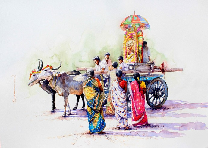 URCHAVAM 3 by Siva Balan, Photorealism Painting, Watercolor on Paper, Gray color