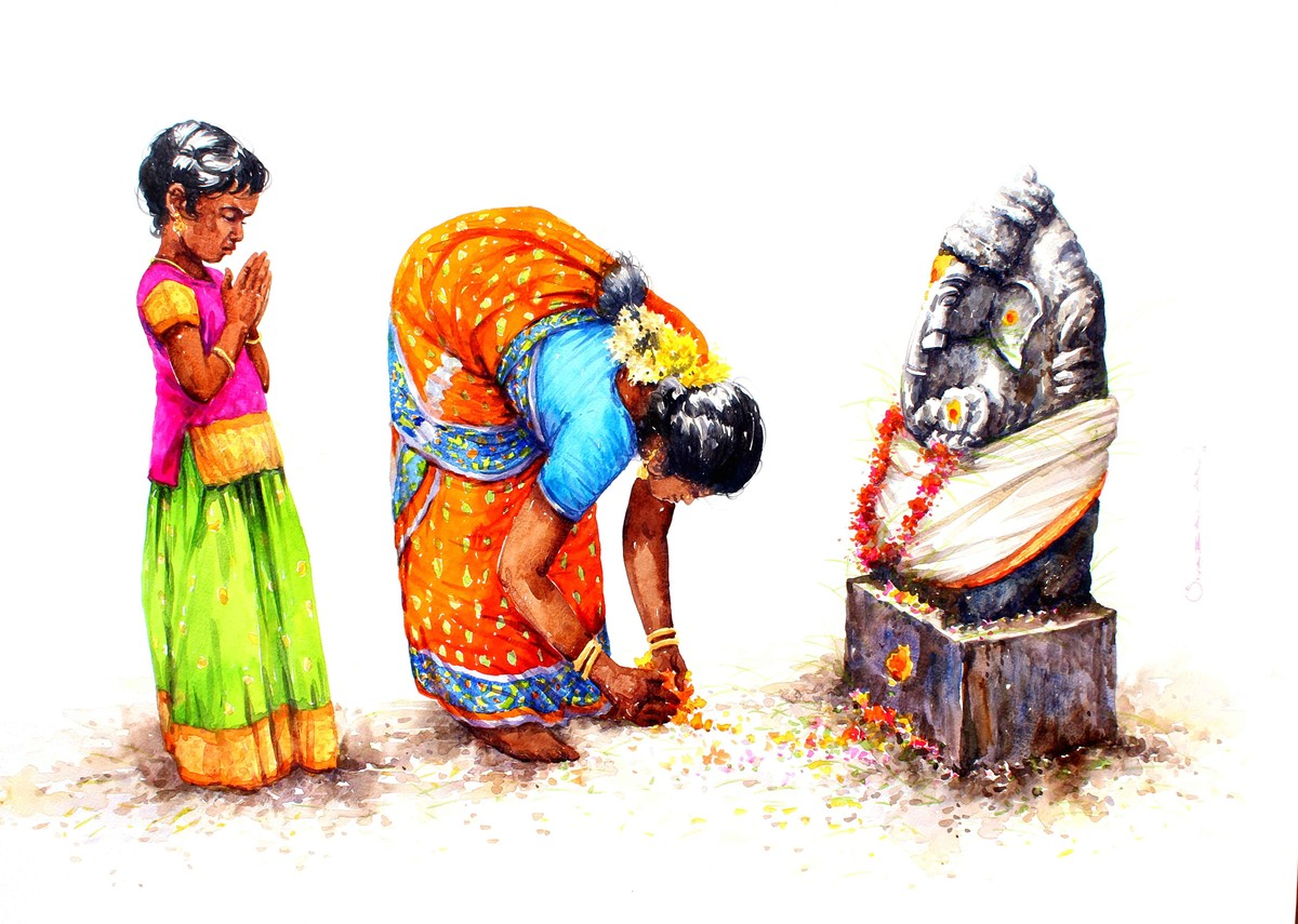 GANESHA by Siva Balan, Photorealism Painting, Watercolor on Paper, White color