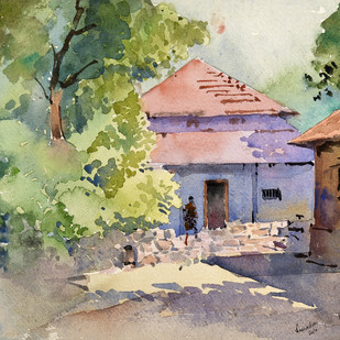 Nature beuty by Ravindra Madhav Nagare, Impressionism Painting, Watercolor on Paper, Beige color