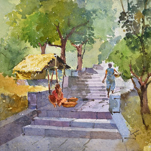 Gangadwar street by Ravindra Madhav Nagare, Impressionism Painting, Watercolor on Paper, Beige color