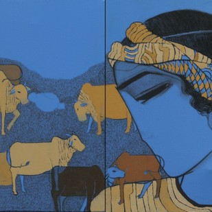 Boy With Caws by Siddharth Shingade, Expressionism Drawing, Acrylic on Canvas, Blue color