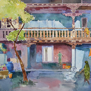 golden memory by Ravindra Madhav Nagare, Impressionism Painting, Watercolor on Paper, Brown color