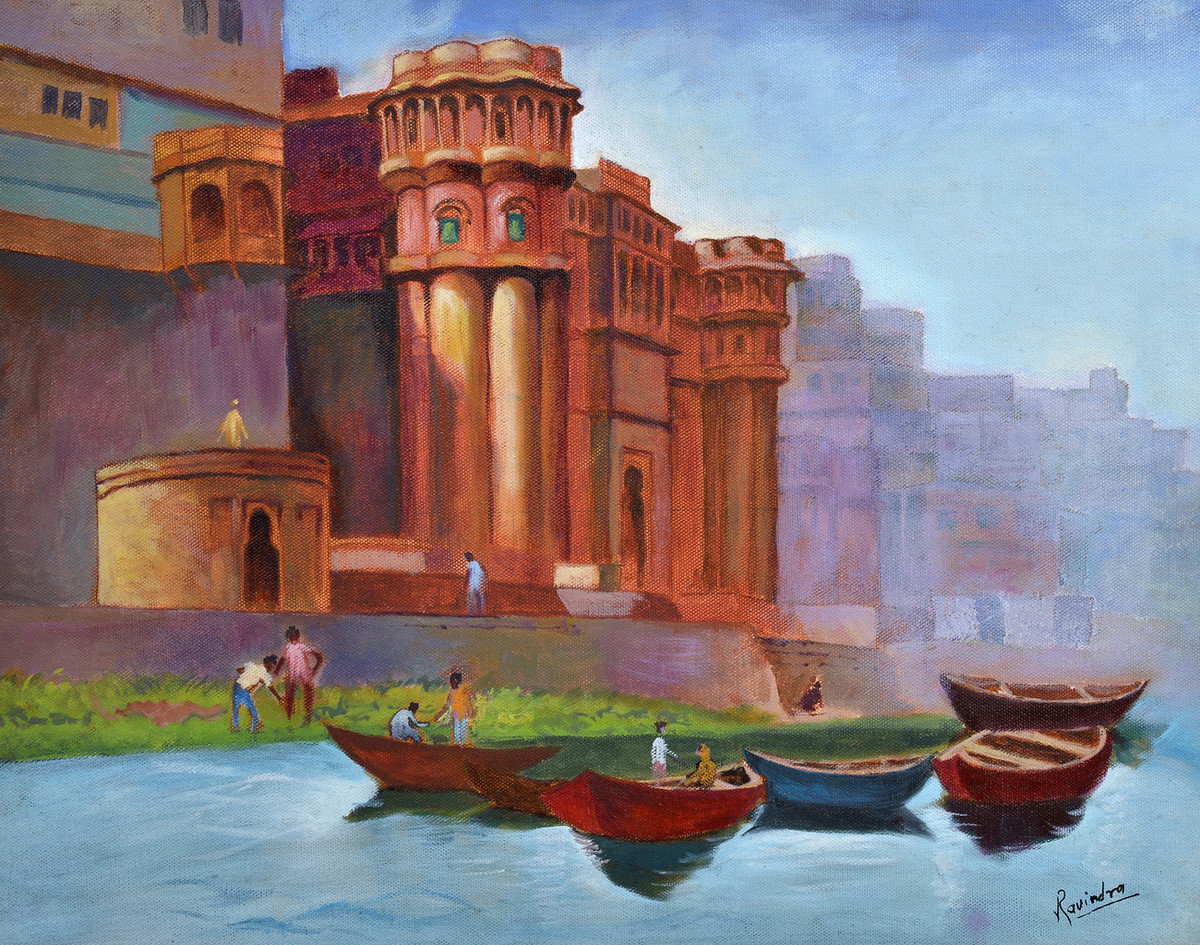 bhosala ghat by Ravindra Madhav Nagare, Impressionism Painting, Oil on Canvas, Brown color
