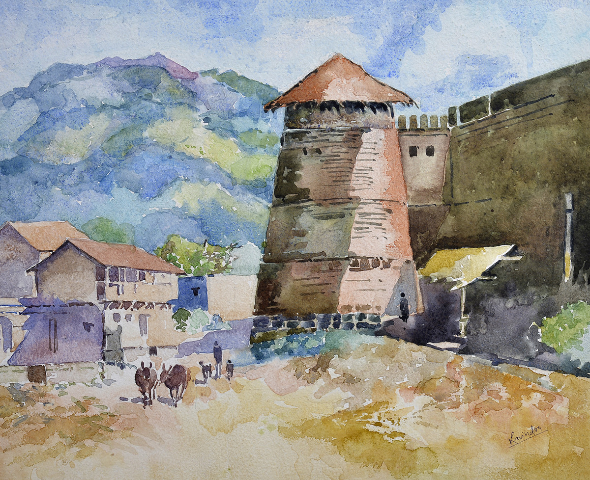 rangmahal by Ravindra Madhav Nagare, Impressionism Painting, Watercolor on Paper, Beige color
