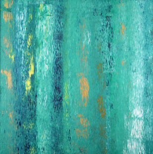 A Symphony in Blue by Bharat Thakur, Abstract Painting, Acrylic on Canvas, Cyan color