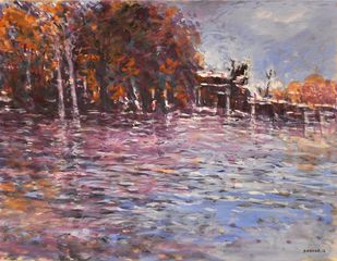 RIVERSIDE by Zargar Zahoor, Impressionism Painting, Gouache on Paper, Brown color