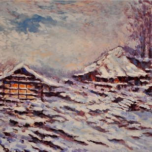 SNOWY EVENING Digital Print by Zargar Zahoor,Impressionism