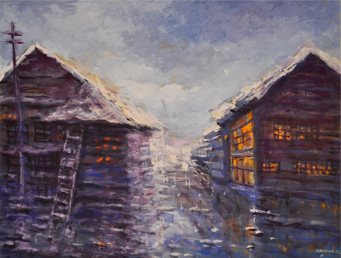 LIFE ON WATER by Zargar Zahoor, Impressionism Painting, Gouache on Paper, Blue color
