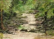 Waterfall1 by Pankhi Saikia Nath, Impressionism Painting, Oil on Paper, Green color