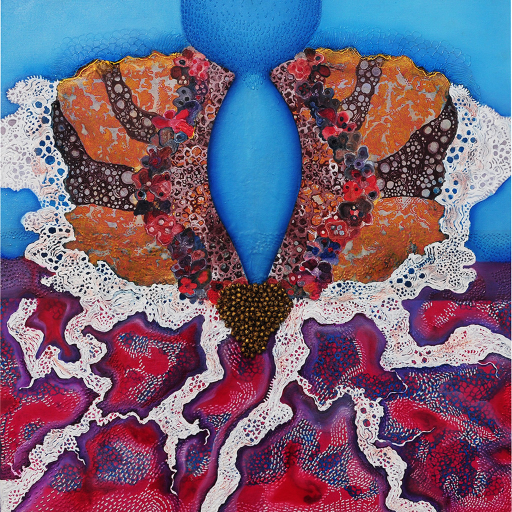 SYNERGY OF SENSES by Mala Raj Srivastava, Conceptual Painting, Mixed Media on Canvas, Brown color