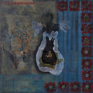 SYNERGY OF SENSES by Mala Raj Srivastava, Conceptual Painting, Mixed Media on Canvas, Blue color