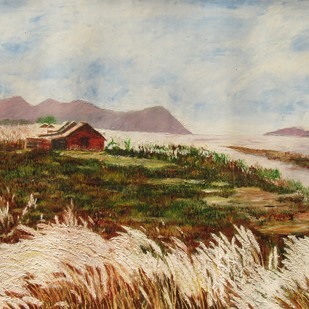 Landscape1 by Pankhi Saikia Nath, Impressionism Painting, Oil on Paper, Brown color