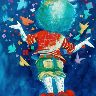 Dreams of the childhood by shiv kumar soni, Expressionism Painting, Acrylic on Canvas, Blue color