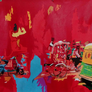 Untitled by Sreenivasa Ram Makineedi, Photorealism Painting, Acrylic on Canvas, Red color
