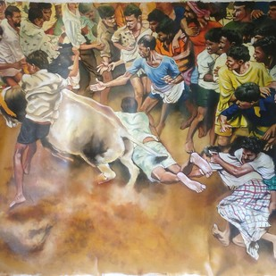 Jallikattu by Sreenivasa Ram Makineedi, Realism Painting, Oil on Canvas, Brown color